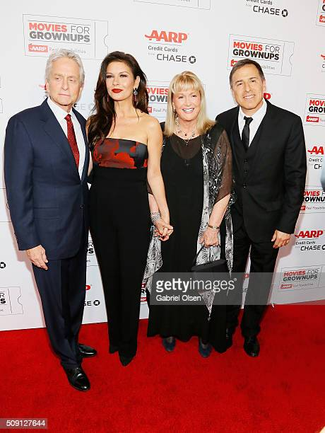 Actors Michael Douglas Catherine ZetaJones Diane Ladd and director David O Russell attend AARP's Movie For GrownUps Awards at the Beverly Wilshire...