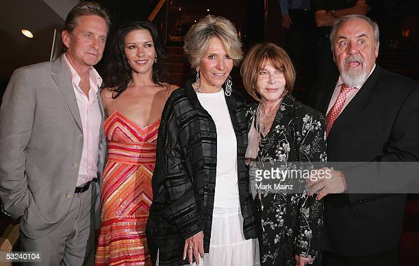 Actors Michael Douglas, his wife Catherine Zeta-Jones, President of Documentary Programming for HBO Sheila Nevins, actress/director Lee Grant and...