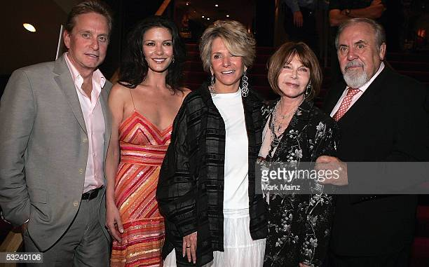 Actors Michael Douglas his wife Catherine ZetaJones President of Documentary Programming for HBO Sheila Nevins actress/director Lee Grant and...