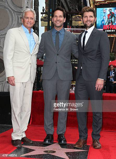 Actors Michael Douglas Paul Rudd and Adam Scott attend ceremony honoring actor Paul Rudd with a Star on the Hollywood Walk of Fame on July 1 2015 in...