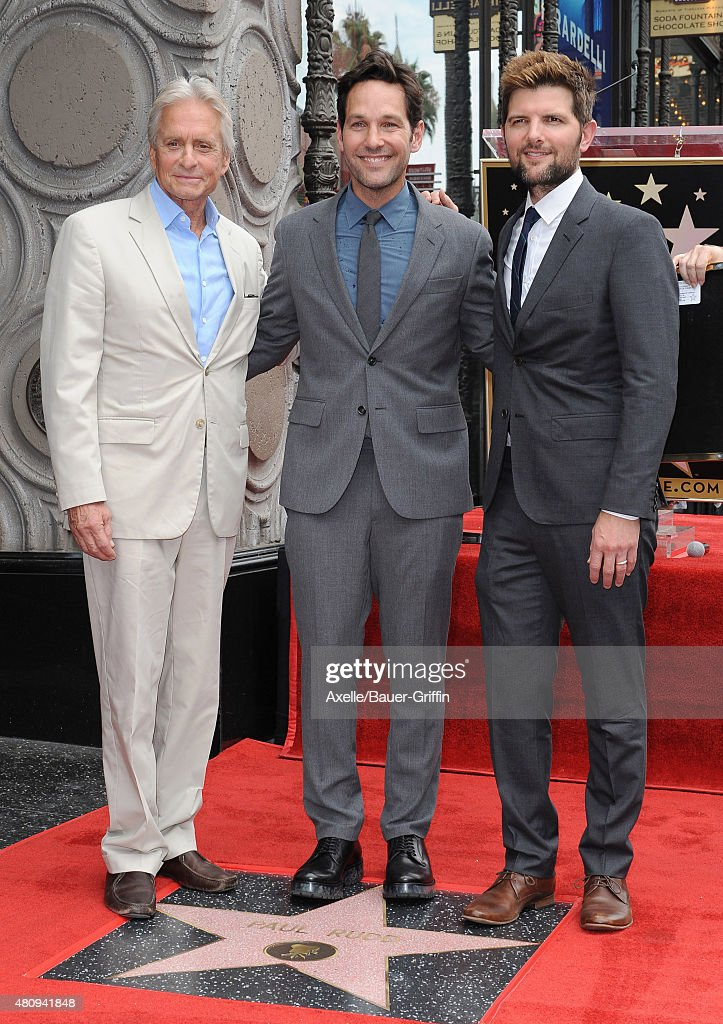 Actors Michael Douglas, Paul Rudd and Adam Scott attend the ceremony honoring Paul Rudd with a star on the Hollywood Walk of Fame on July 1, 2015 in Hollywood, California.