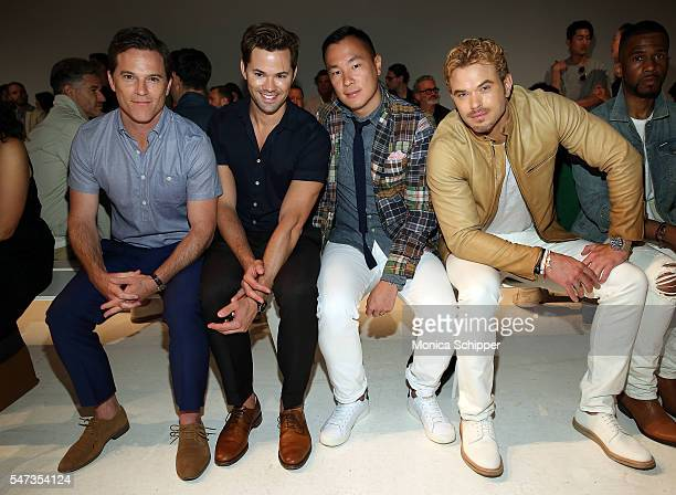 Actors Michael Doyle Andrew Rannells and Kellan Lutz attend the Todd Snyder fashion show during New York Fashion Week Men's S/S 2017 at Skylight...