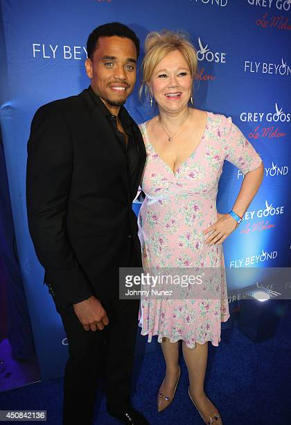 Actors Michael Ealy and Caroline Rhea attend an evening with Kehinde Wiley Spike Lee presented by GREY GOOSE Le Melon at Crosby Street Hotel on June...