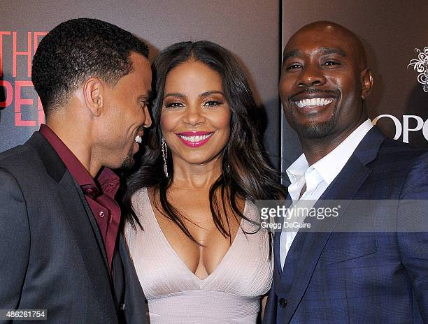 Actors Michael Ealy Sanaa Lathan and Morris Chestnut arrive at the premiere of Screen Gems' 'The Perfect Guy' at The WGA Theater on September 2 2015...