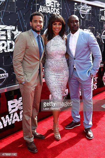 Actors Michael Ealy Sanaa Lathan and Morris Chestnut arrived at the BET Make A Wish Foundation Recipients BET Experience At LA Live Red Carpet...
