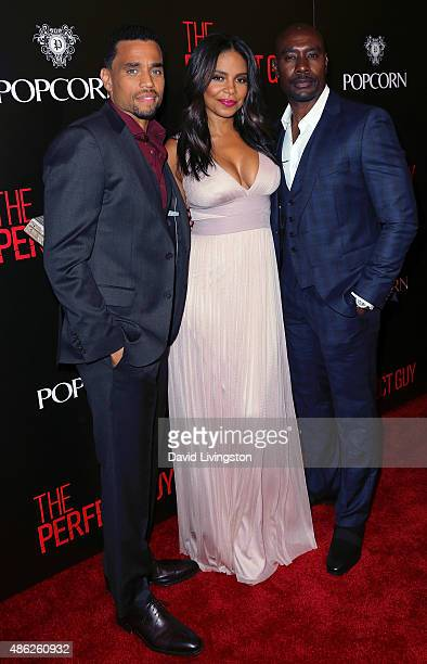 Actors Michael Ealy Sanaa Lathan and Morris Chestnut attend the premiere of Screen Gems' 'The Perfect Guy' at the WGA Theater on September 2 2015 in...
