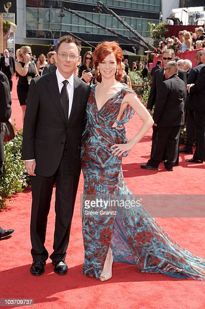 Actors Michael Emerson and Carrie Preston arrive at the 62nd Annual Primetime Emmy Awards held at the Nokia Theatre LA Live on August 29 2010 in Los...