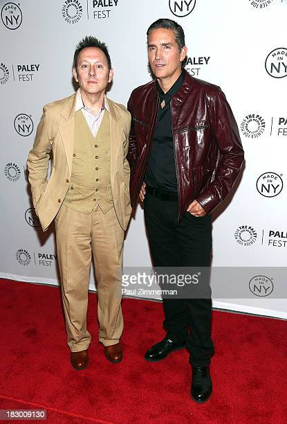 Actors Michael Emerson and Jim Caviezel attend the 'Person of Interest' panel during 2013 PaleyFest Made In New York at The Paley Center for Media on...