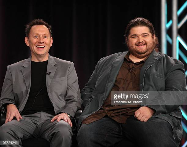Actors Michael Emerson and Jorge Garcia speak onstage at the ABC 'Lost' QA portion of the 2010 Winter TCA Tour day 4 at the Langham Hotel on January...