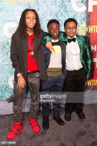 Actors Michael Epps Alex Hibbert and Shamon Brown attend the Premiere Of Showtime's The Chi at Downtown Independent on January 3 2018 in Los Angeles...