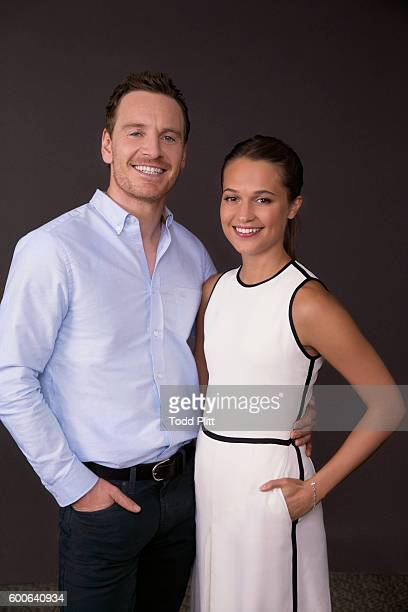 Actors Michael Fassbender and Alicia Vikander are photographed for USA Today on July 25 2016 in New York City PUBLISHED IMAGE