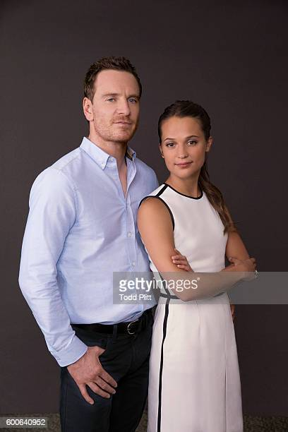 Actors Michael Fassbender and Alicia Vikander are photographed for USA Today on July 25 2016 in New York City
