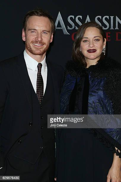 Actors Michael Fassbender and Marion Cotillard attends the Assassin's Creed New York Premiere at AMC Empire 25 theater on December 13 2016 in New...