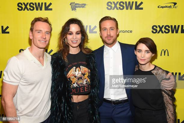 Actors Michael Fassbender Berenice Marlohe Ryan Gosling and Rooney Mara attend the 'Song To Song' premiere 2017 SXSW Conference and Festivals at...