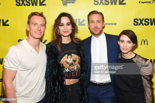Actors Michael Fassbender Brnice Marlohe Ryan Gosling and Rooney Mara attend the 'Song To Song' premiere 2017 SXSW Conference and Festivals at...