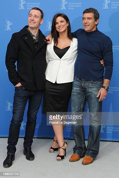 """Actors Michael Fassbender, Gina Carano and Antonio Banderas attends the """"Haywire"""" Photocall during day seven of the 62nd Berlin International Film..."""