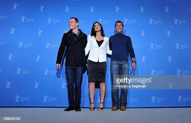 Actors Michael Fassbender Gina Carano and Antonio Banderas attends the 'Haywire' Photocall during day seven of the 62nd Berlin International Film...