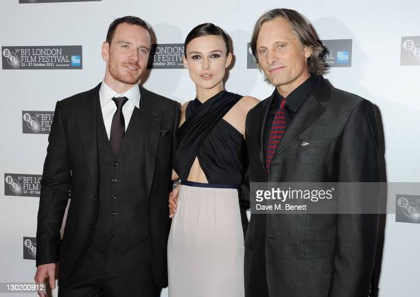 Actors Michael Fassbender Keira Knightley and Viggo Mortensen attend the Premiere of 'A Dangerous Method' during the 55th BFI London Film Festival at...