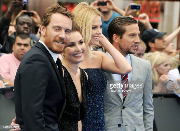 Actors Michael Fassbender Noomi Rapace Charlize Theron and Logan MarshallGreen attend the World Premiere of 'Prometheus' at Empire Leicester Square...