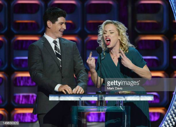 Actors Michael Fishman and Alicia Goranson speak onstage at the Comedy Central Roast of Roseanne Barr at Hollywood Palladium on August 4 2012 in...