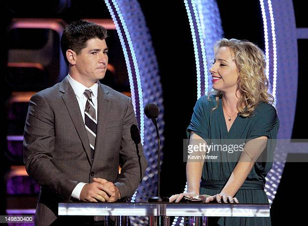 Actors Michael Fishman and Alicia Goranson speak onstage during the Comedy Central Roast of Roseanne Barr at Hollywood Palladium on August 4 2012 in...
