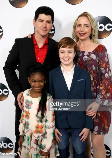 Actors Michael Fishman Jayden Rey Ames McNamara and Alicia Goranson attend Disney ABC Television Group's TCA Winter Press Tour 2018 at The Langham...