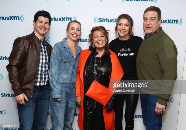 Actors Michael Fishman Lecy Goranson Roseanne Barr Sarah Chalke and John Goodman pose for photos during SiriusXM's Town Hall with the cast of...
