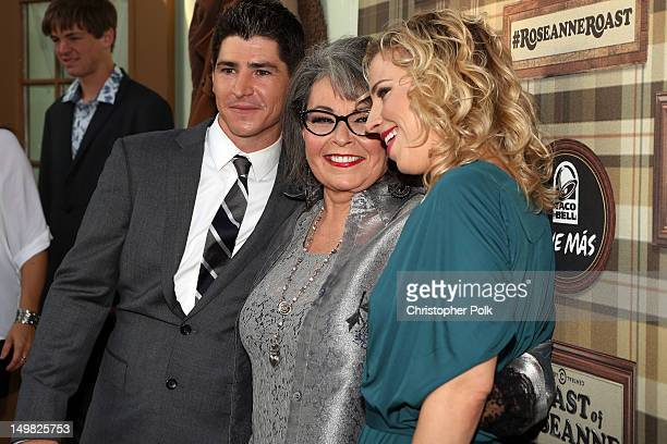 Actors Michael Fishman Roseanne Barr and Alicia Goranson arrive at the Comedy Central Roast of Roseanne Barr at Hollywood Palladium on August 4 2012...