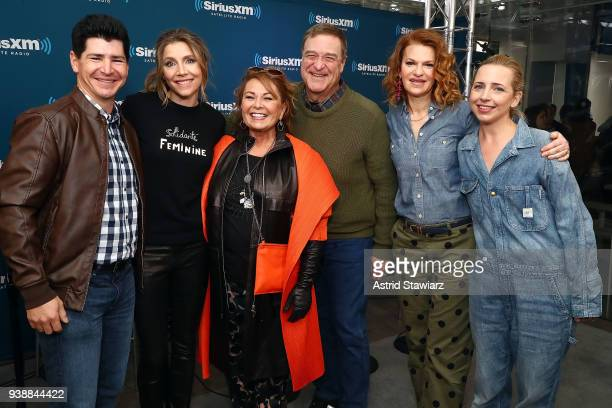 Actors Michael Fishman Sarah Chalke Roseanne Barr John Goodman SiriusXM host Sandra Bernhard and Lecy Goranson pose for photos during SiriusXM's Town...