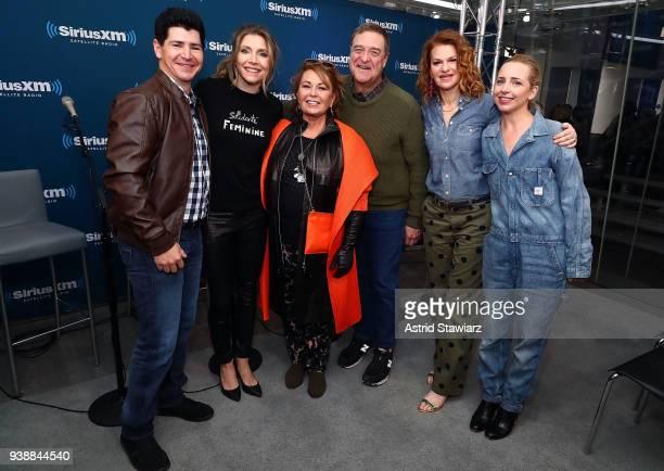 Actors Michael Fishman Sarah Chalke Roseanne Barr John Goodman SiriusXM host Sandra Bernhard and Lecy Goranson pose for photos during SiriusXM's Town...