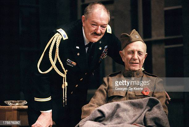 Actors Michael Gambon and Robert Flemyng perform in Donald Freed's stage play 'Veterans Day' at Theatre Royal on August 17 1989 in London England