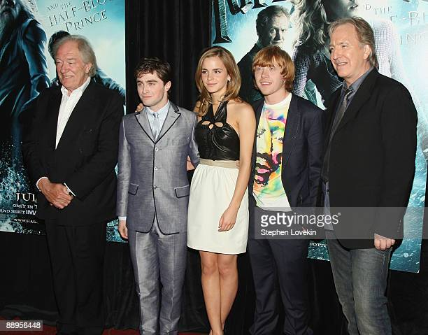 Actors Michael Gambon Daniel Radcliffe Emma Watson Rupert Grint and Alan Rickman attend the 'Harry Potter and the HalfBlood Prince' premiere at...
