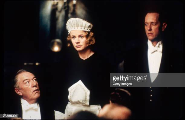 Actors Michael Gambon Emily Watson and Richard E Grant appear in a scene from the film Gosford Park