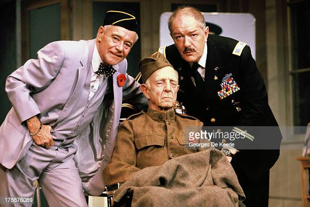 Actors Michael Gambon Robert Flemyng and Jack Lemmon perform in Donald Freed's stage play 'Veterans Day' at Theatre Royal on August 17 1989 in London...
