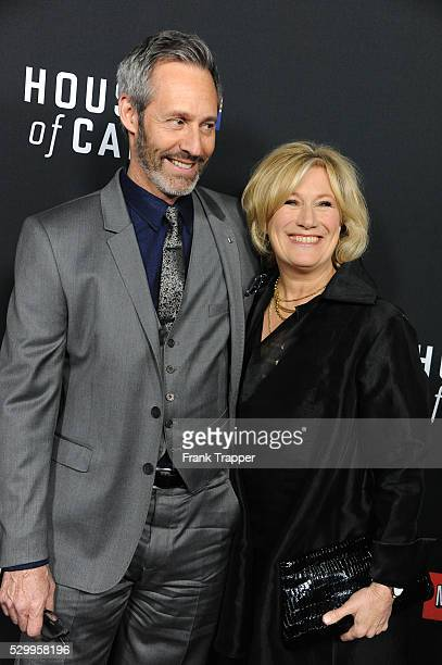 """Actors Michael Gill and Jayne Atkinson arrive at the special screening of Netflix's """"House of Cards"""" Season 2 held at the Directors Guild of America."""