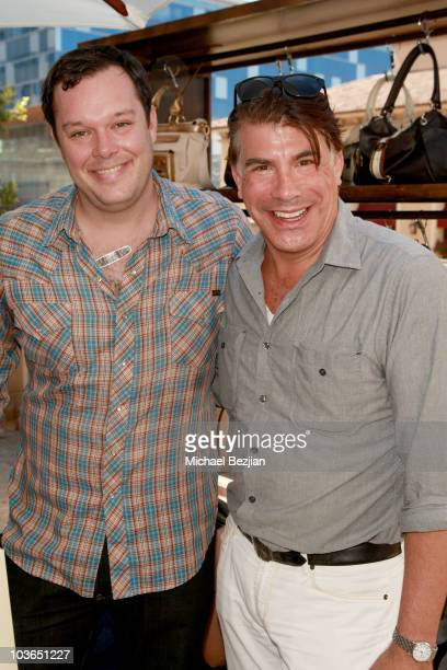 Actors Michael Gladis and Bryan Batt at the BandAid booth during Kari Feinstein Primetime Emmy Awards Style Lounge Day 1 held at Montage Beverly...