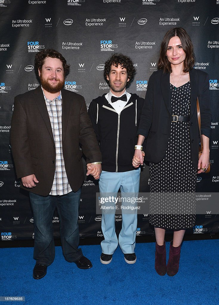 Actors Michael Govier, Spencer Susser and Karolina Wydra arrive to the after party for the premiere of 'Four Stories' at The W Hotel on December 4, 2012 in Westwood, California.
