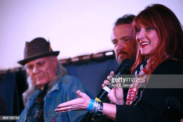 Actors Michael Horse Sean Bolger and Makeup artist Debbie Zoller answer questions on stage during the Twin Peaks UK Festival 2017 at Hornsey Town...