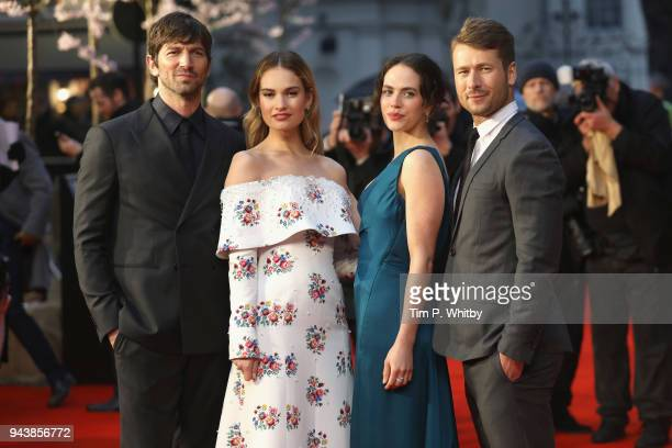 Actors Michael Hulsman Lily James Jessica Brown Findlay and Glen Powell attend 'The Guernsey Literary And Potato Peel Pie Society' World Premiere at...