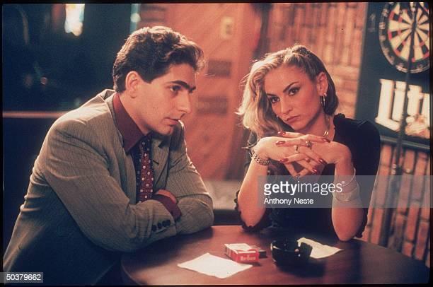 Actors Michael Imperioli Drea De Matteo in scene from HBO cable TV series The Sopranos