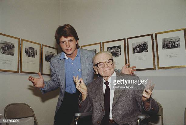 Actors Michael J Fox and James Cagney at the Museum of the City of New York New York City 21st October 1985
