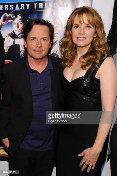 Actors Michael J Fox and Lea Thompson attend the Back to the Future 25th anniversary trilogy BluRay release at Gustavino's on October 25 2010 in New...