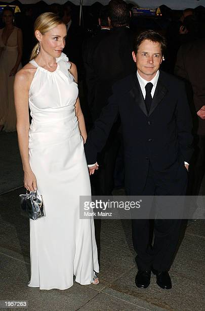 Actors Michael J Fox and wife Tracy Pollan attend 'Goddess Costume Institute Benefit Gala' at the Metropolitan Museum of Art Costume April 28 2003 in...