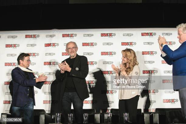 """Actors Michael J Fox, Christopher Lloyd, Lea Thompson and Tom Wilson attend An Evening With the Cast of """"Back To The Future"""" at the Metro Toronto..."""