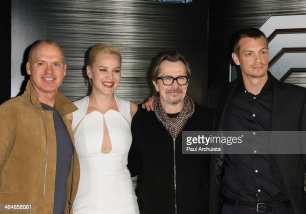 "Actors Michael Keaton, Abbie Cornish, Gary Oldman and Joel Kinnaman attend the ""RoboCop"" photo call at the SLS Hotel Beverly Hills on January 23,..."
