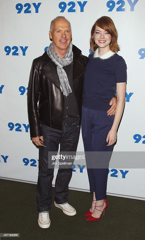 Actors Michael Keaton and Emma Stone attend the 92nd Street Y Film Series: 'Birdman, Or The Unexpected Virtue Of Ignorance'at 92nd Street Y on October 13, 2014 in New York City.