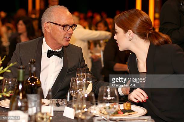 Actors Michael Keaton and Emma Stone attend TNT's 21st Annual Screen Actors Guild Awards at The Shrine Auditorium on January 25, 2015 in Los Angeles,...