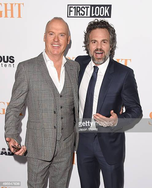 "Actors Michael Keaton and Mark Ruffalo arrive at the screening of Open Road Films' ""Spotlight"" at DGA Theater on November 3, 2015 in Los Angeles,..."