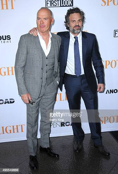 "Actors Michael Keaton and Mark Ruffalo attend screening of Open Road Films' ""Spotlight"" at the DGA Theater on November 3, 2015 in Los Angeles,..."