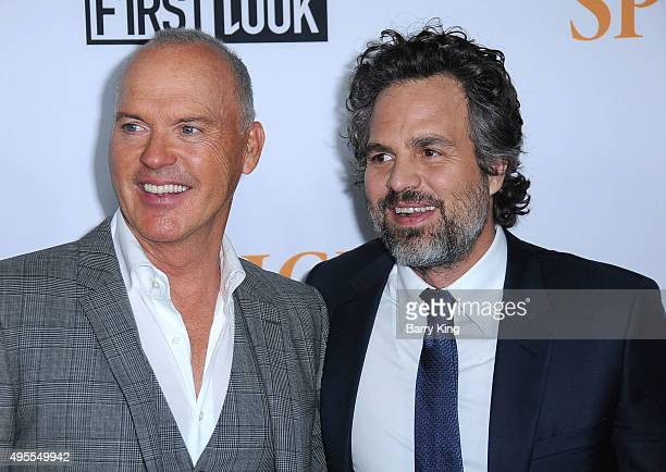 Actors Michael Keaton and Mark Ruffalo attend screening of Open Road Films' Spotlight at the DGA Theater on November 3 2015 in Los Angeles California
